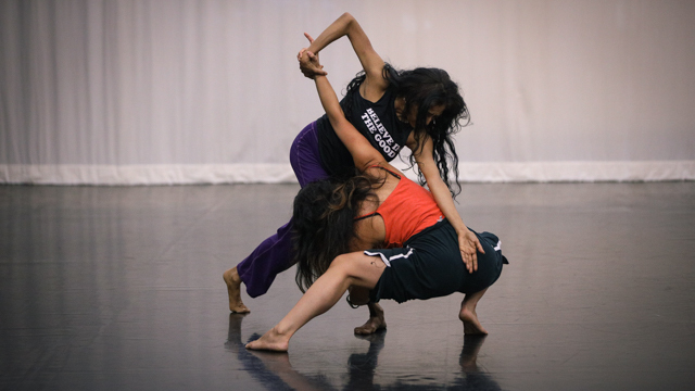 Chatterjea andFerreira in rehearsal for <em>Fires of Lost Homes</em>