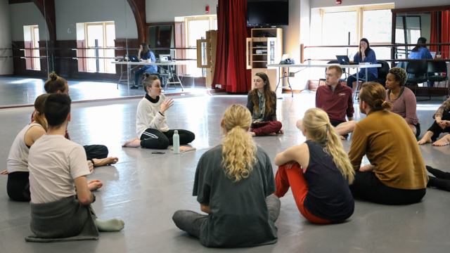 Beth Gill and Michelle Fletcher in discussion with School of Dance students