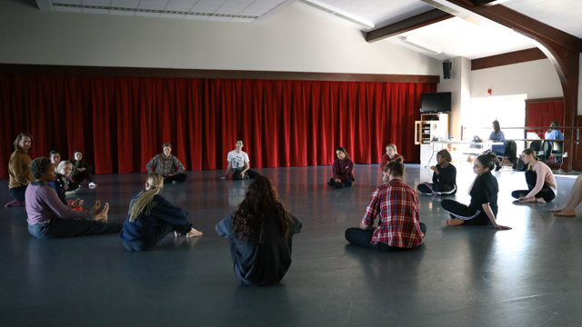 Tess Neill and Michelle Fletcher in discussion with School of Dance students