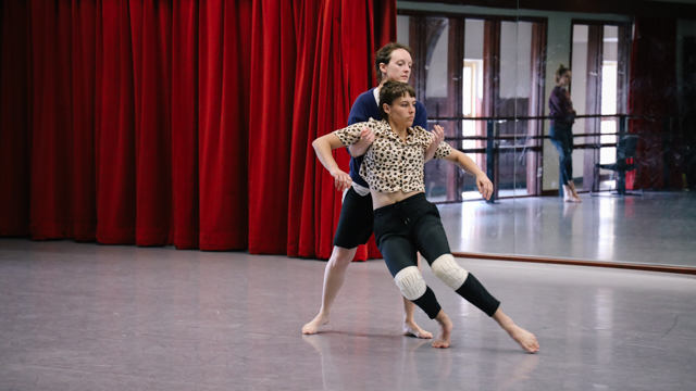 Doell and Lauren Linder in rehearsal