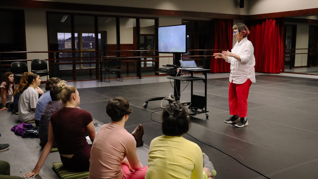 Graney speaks to School of Dance students and faculty at the work-in-progress showing