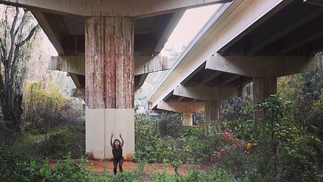 Video still of Joanna Kotze on location in Tallahassee for <em>Nothing's changed except for everything</em>.