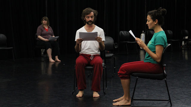 Luke George, Michelle Boulé and Hilary Clark in rehearsal.