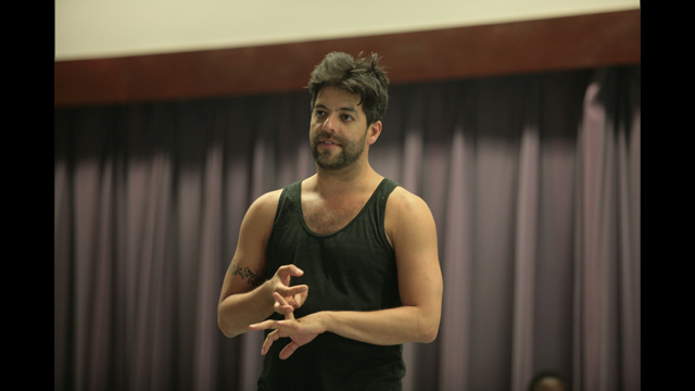 Miguel Gutierrez talks with FSU School of Dance audience about his work in progress <i>and lose the name of action</i>.