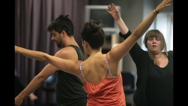 Miguel Gutierrez, Michelle Boulé and Hilary Clark perform at Informal Showing.