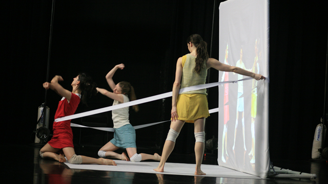 Performers Denisa Musilova, Elyssa Dole and Savina Theodorou rehearse during Shemy's residency.