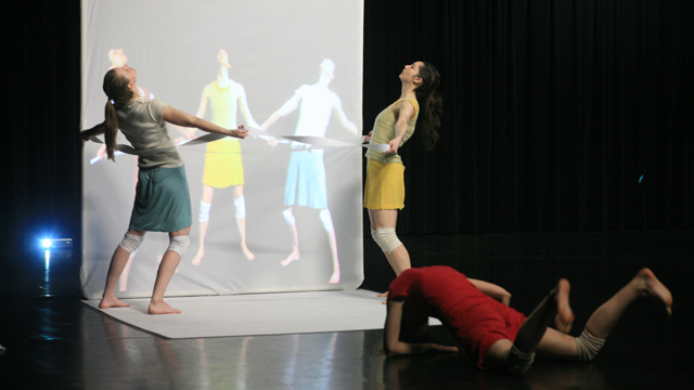 Performers Denisa Musilova, Elyssa Dole and Savina Theodorou rehearse <i>Hungry Kite</i>.