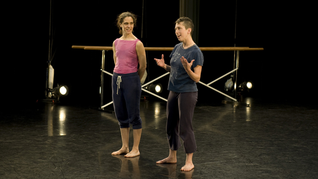 Kristin Van Loon and Arwen Wilder discuss their choreographic process at Informal Showing.