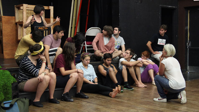 Carlson discusses her classroom performance with Professor Syssoyeva's FSU School of Theatre class.