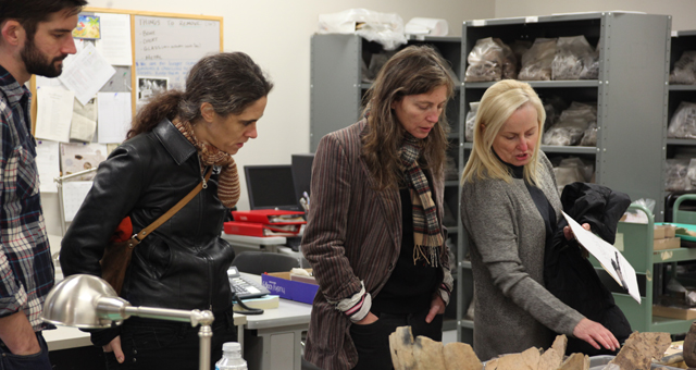 Wirsing, Van Loon and Thorson tour the San Luis Archaeology Lab with Dr. McEwan.
