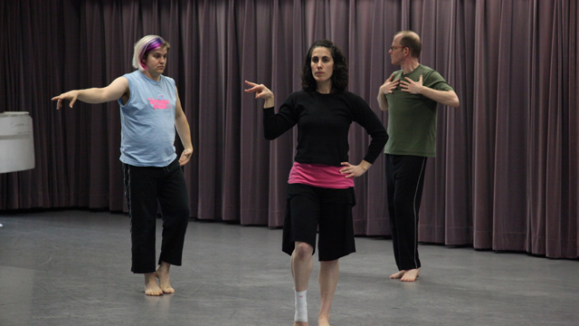 Elliott Durko Lynch, Angharad Davies, and Charles Campbell rehearse in Studio 404