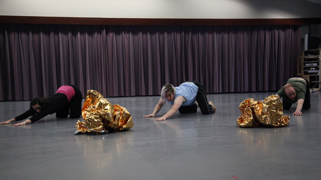 Davies, Durko Lynch, and Campbell rehearse movement vocabulary