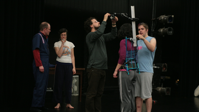 Mayer and collaborators prepare for a <i>Soft Fences</i> rehearsal